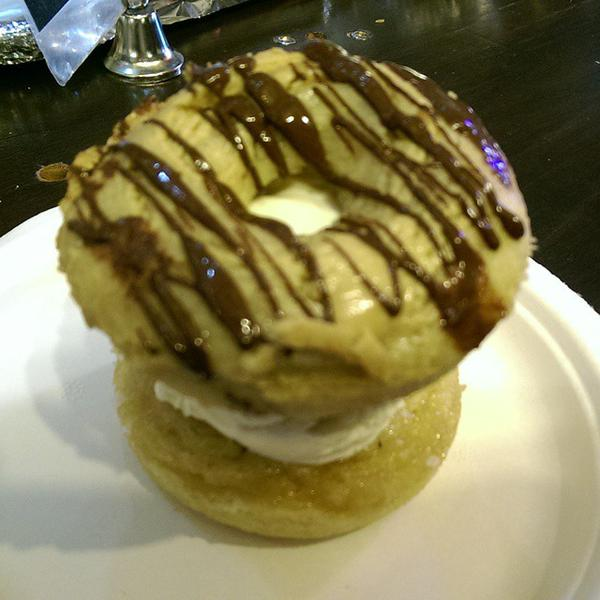 Camden market London vegan gluten free ice cream donut sandwich Cookies and Scream