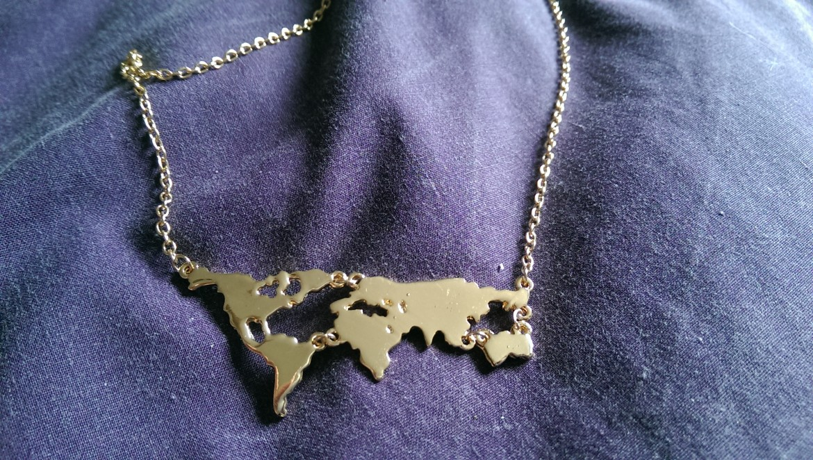 Comuse Travels travel jewellery time to take a map necklace
