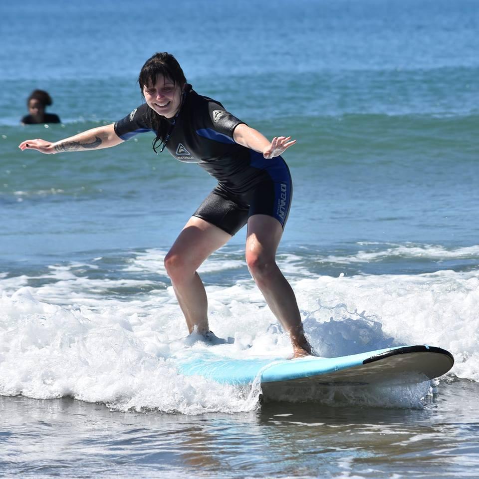 Rachel surfing in Australia