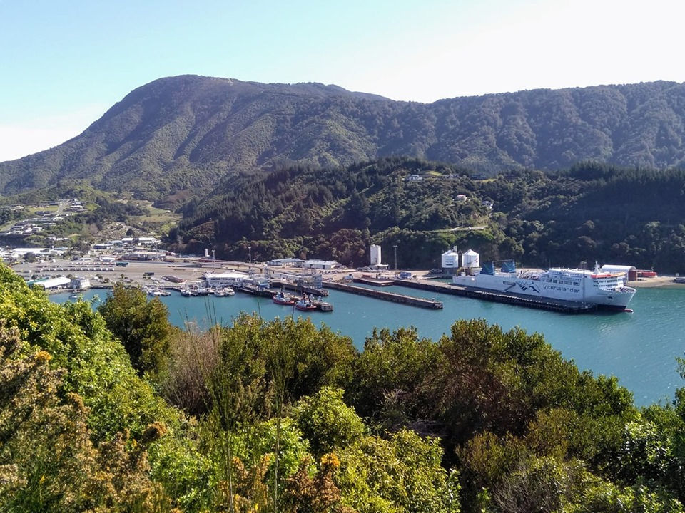 New Zealand ferry between North and South Island in dock at Picton viewed from the cliff