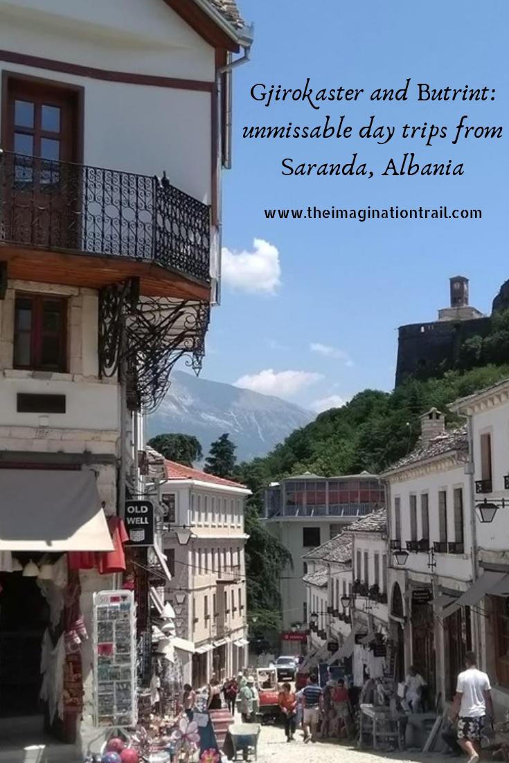 Bazaar shopping street Gjirokaster Old Town Albania