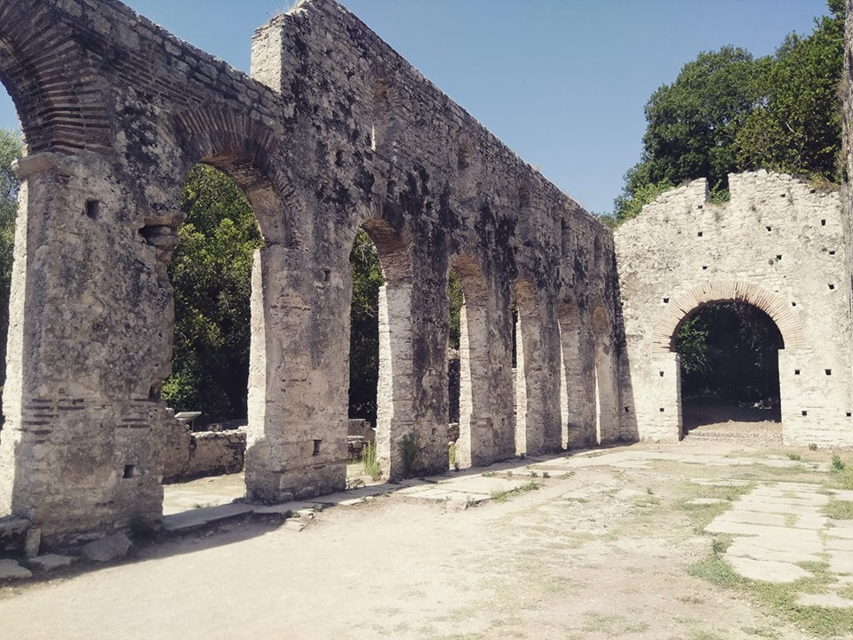 Columns in the Roman archaeological excavations at Butrint in Albania
