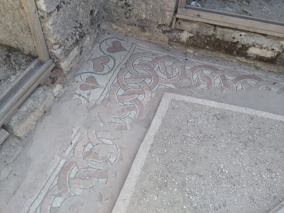 Mosaic at the Roman archaeological excavations at Butrint in Albania