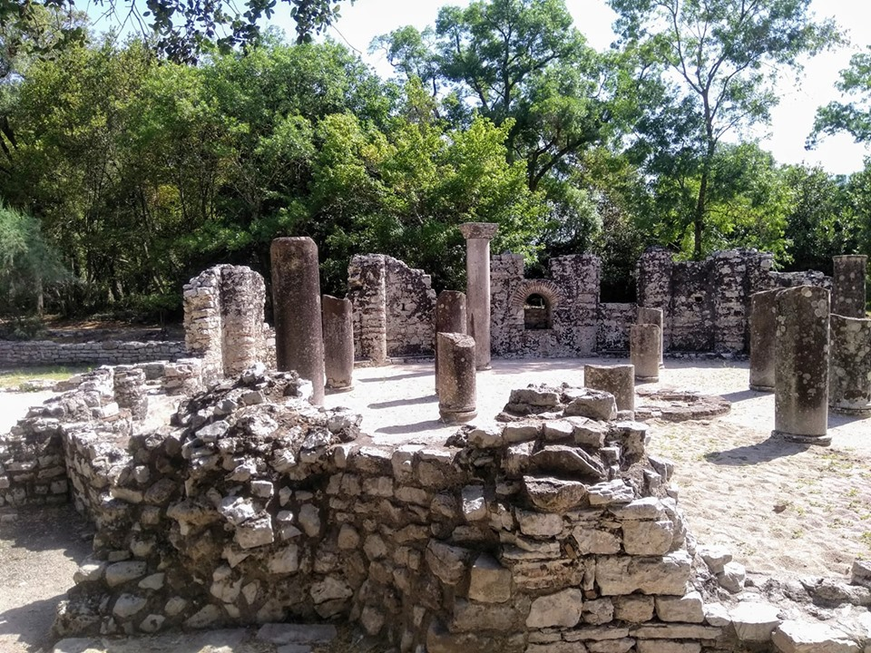 Baptistery at the Roman archaeological excavations at Butrint in Albania