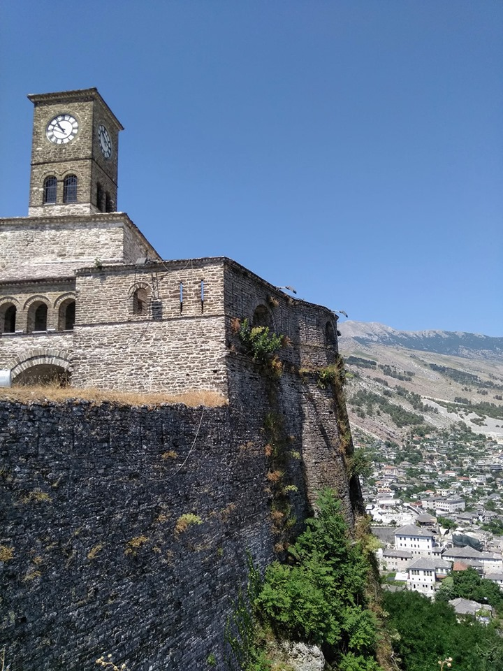 The clock tower at Gjirokaster fortress in Albania