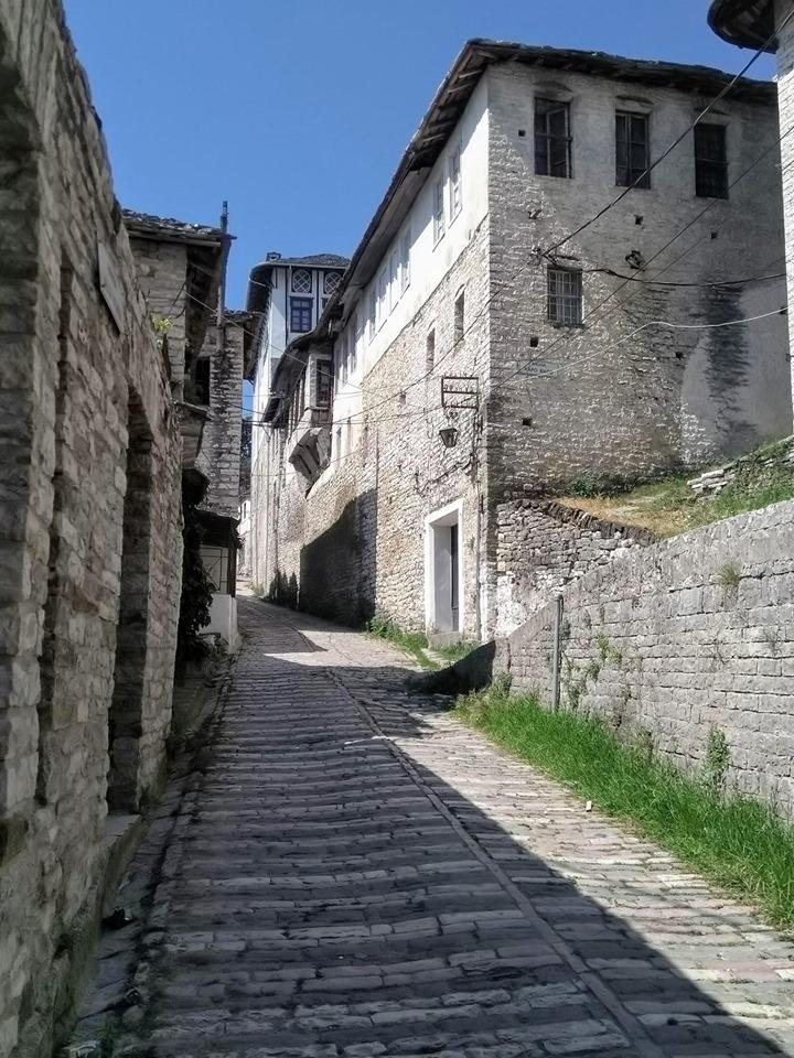 Steep streets of Gjirokaster Old Town in Albania