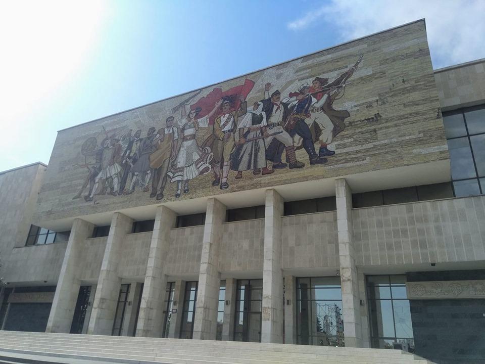 Mosaic communist mural National History Museum Tirana Albania