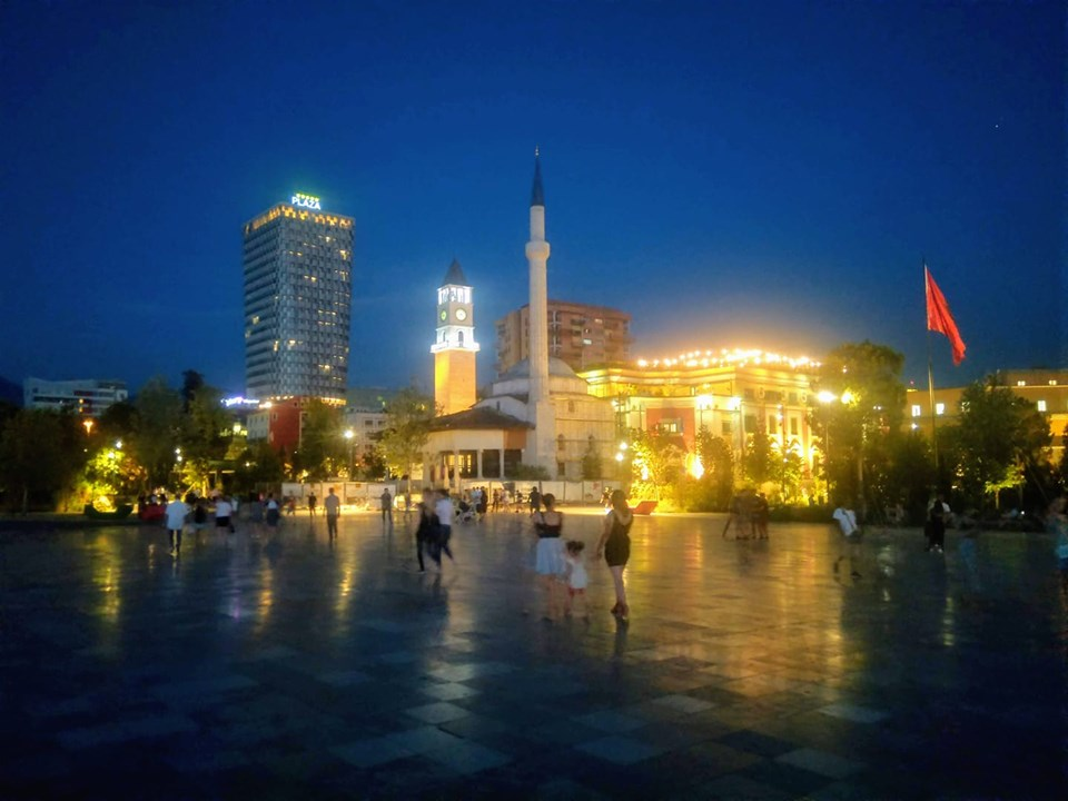 Skanderbeg Square Tirana Albania at night