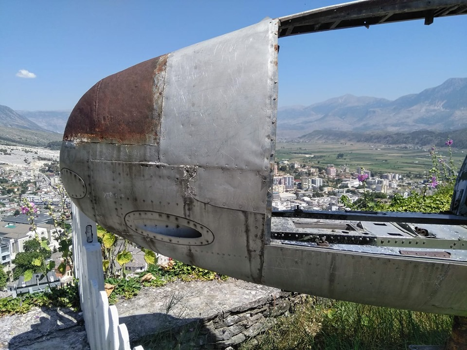 The rusted out American plane from 1957 which sits at the  top of Gijorkaster fortress