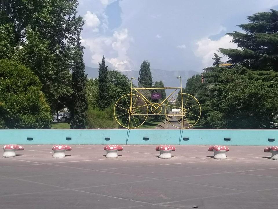 The bicycle ornament on a bridge over the river in Tirana, Albania