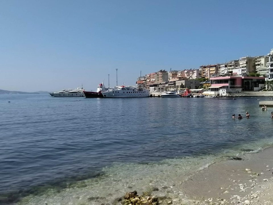The beach and port at Saranda, Albania