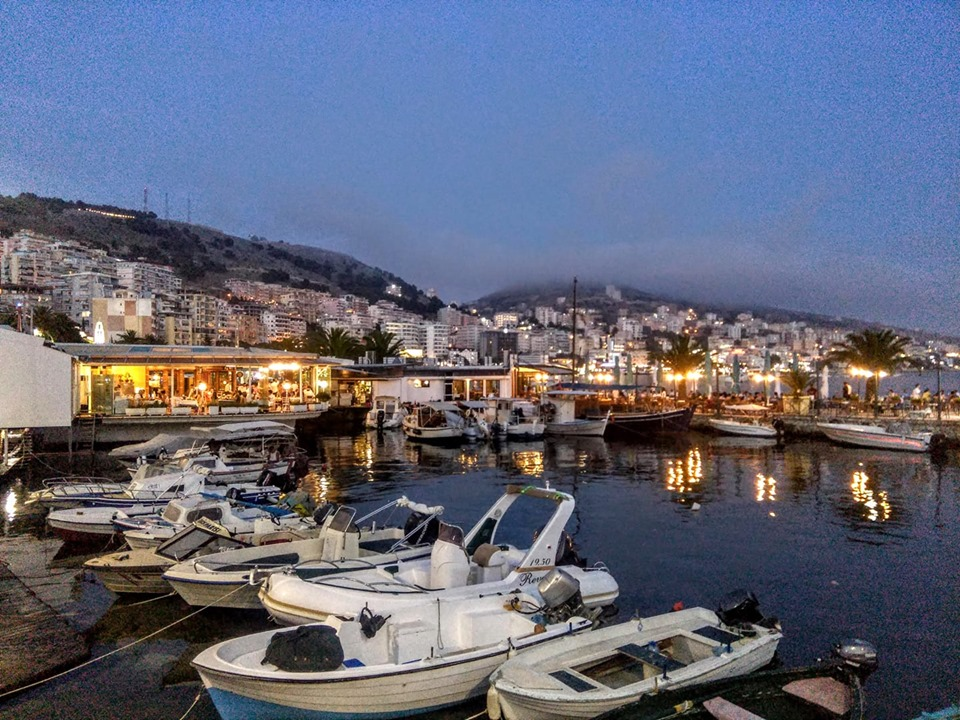 Saranda waterfront at night, Albania