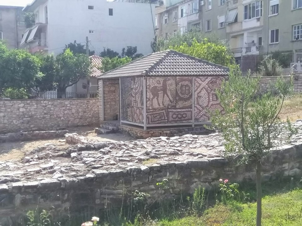 Mosaic and 5th century ruins in Saranda, Albania