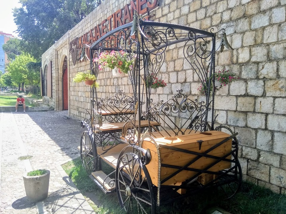 A flower cart outside the old castle walls in Tirana, Albania