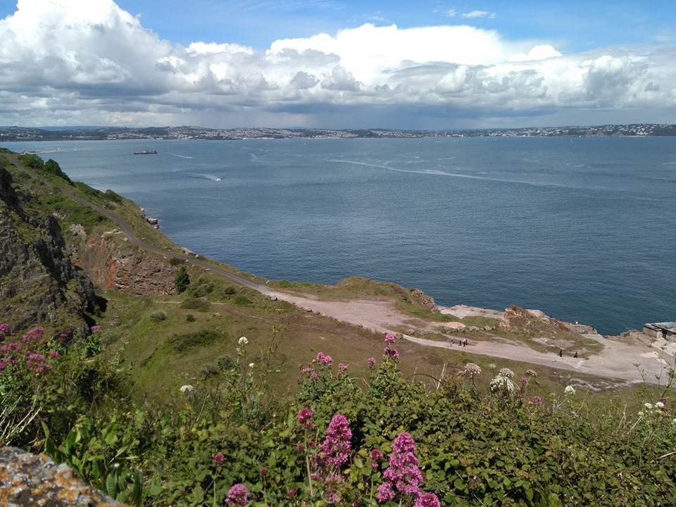 View over the sea towards Brixham from the headland at Berry Head
