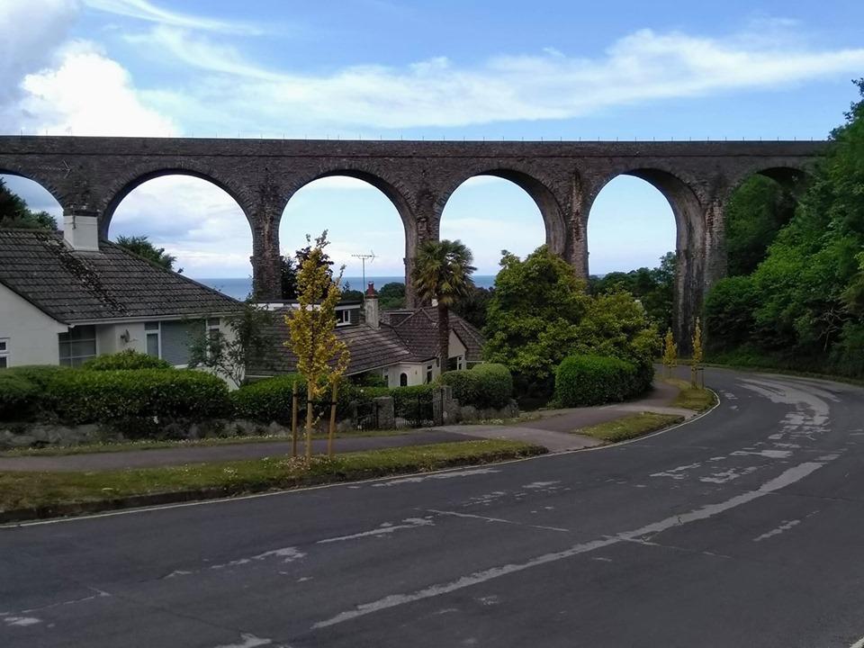 the railway bridge designed by Isambard Kingdom Brunel above houses