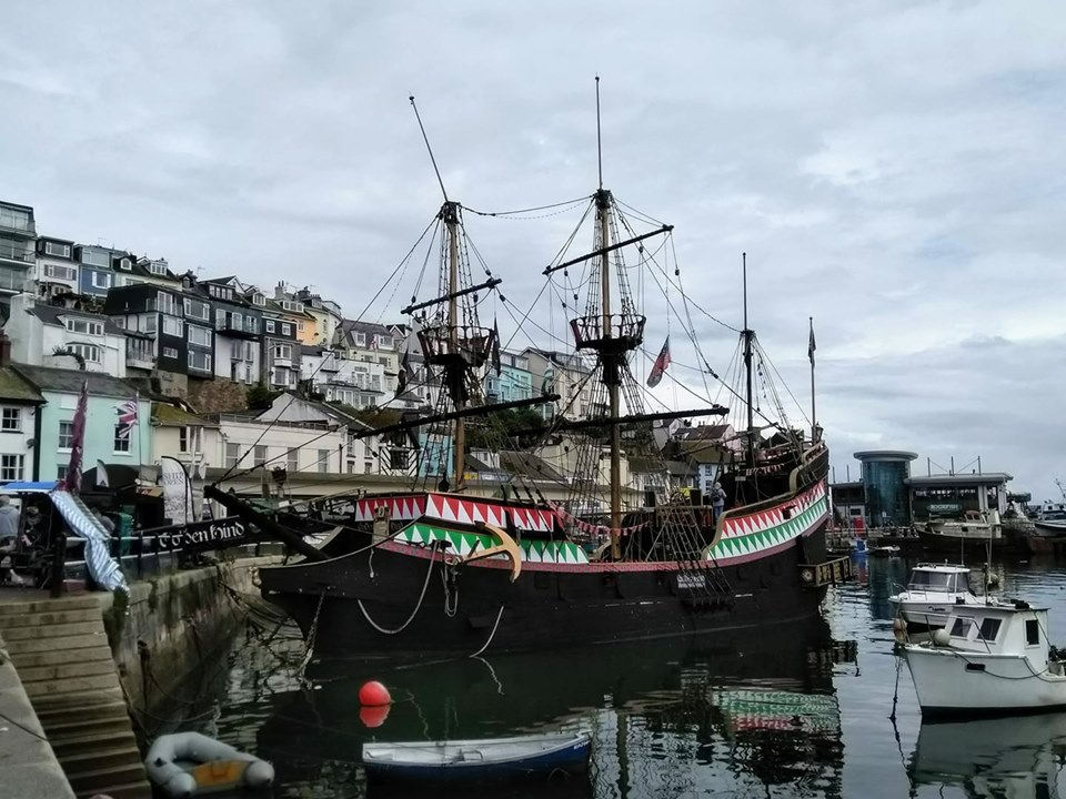 The replica of the Golden Hind in Brixham harbour