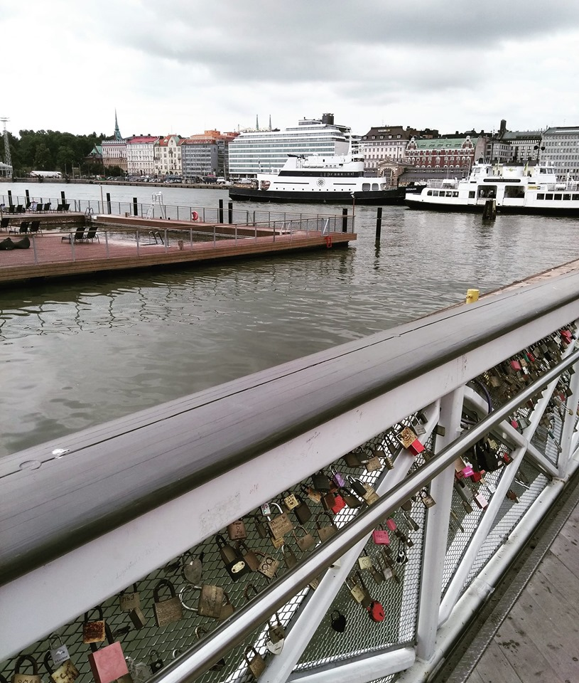 Lovelocks on the bridge by the harbour in Helsinki