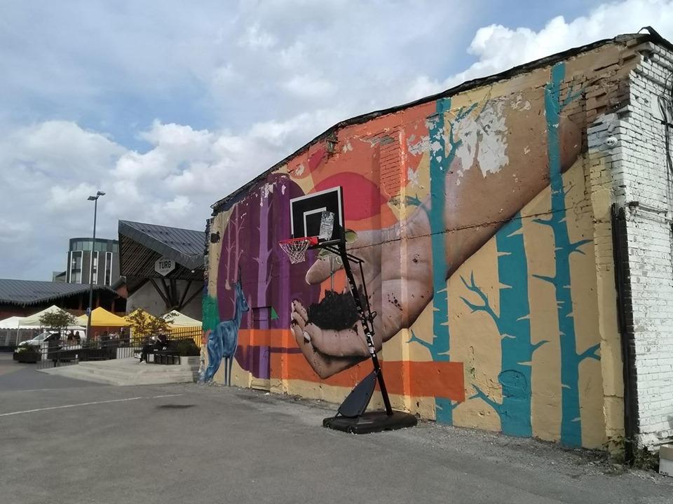 Brightly coloured street art