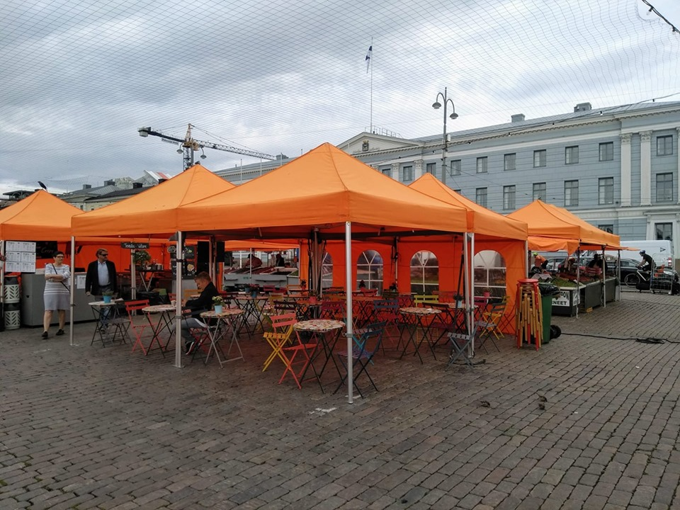The orange tent rooves of the market stalls at Kauppatori