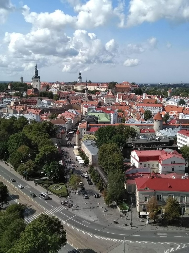 The view of Tallinn from the top floor of the Hotel Viru