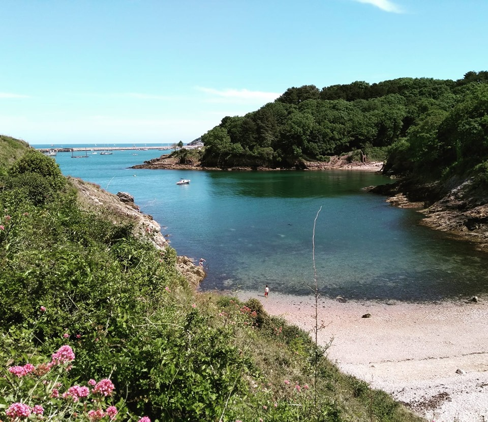 A bay and blue sea viewed from the South West Coastal Path between Brixham and Broadsands