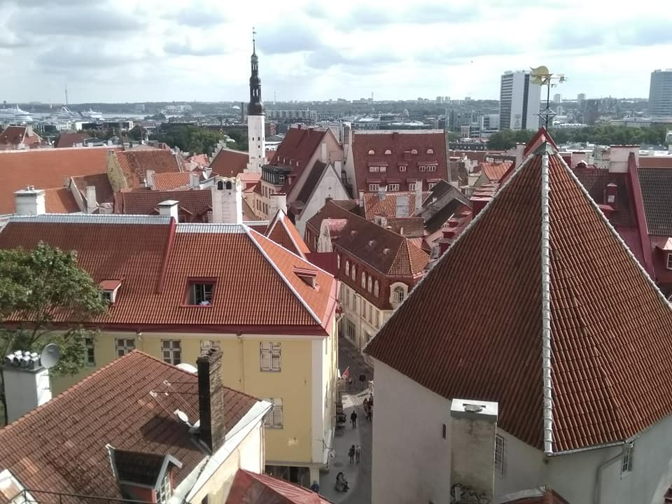 A view into the streets of Tallinn's Old Town from the viewing platform