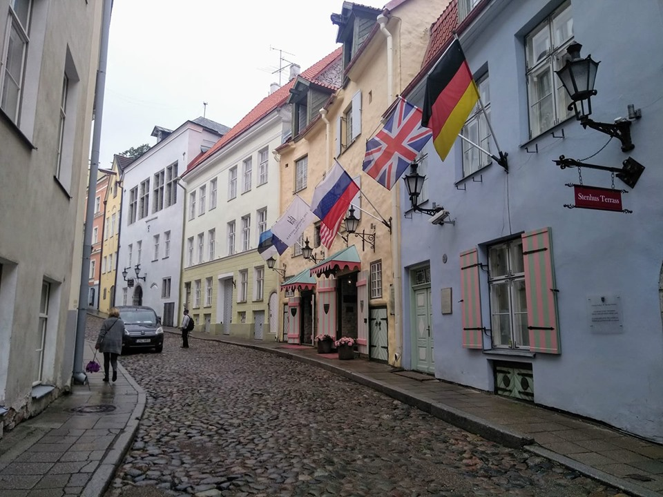 Brightly coloured buildings in the streets of Tallinn's Old Town