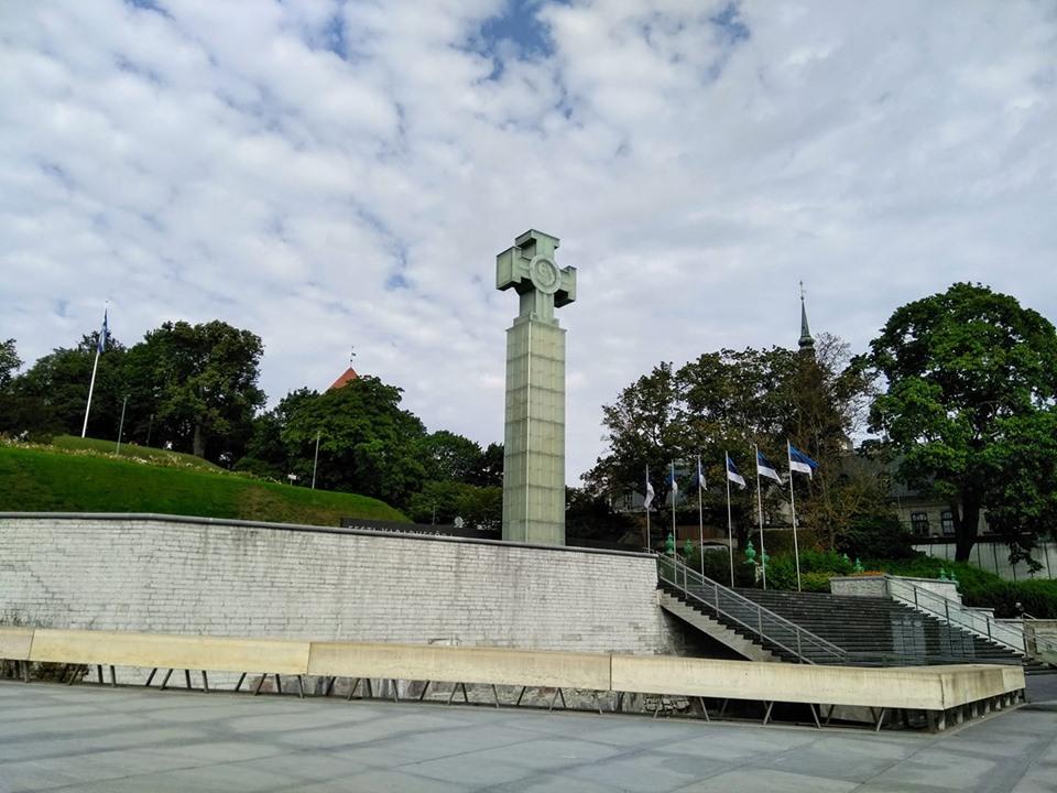 The Estonian independence monument at Vabaduse väljak - Freedom Square