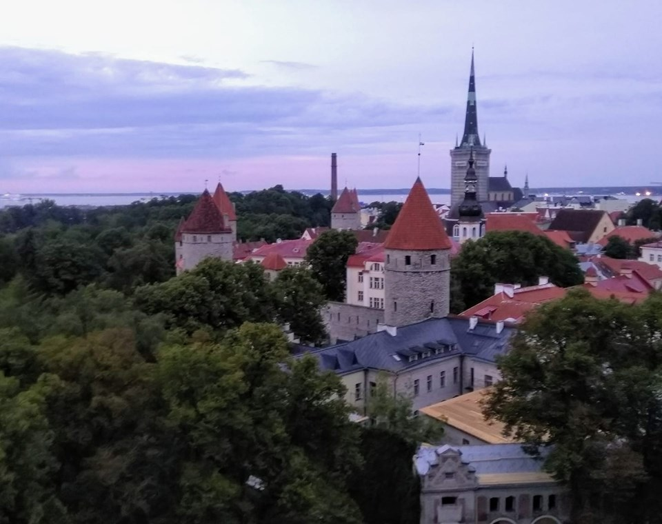 A view of Tallinn's Old Town from the viewing platform at sunset