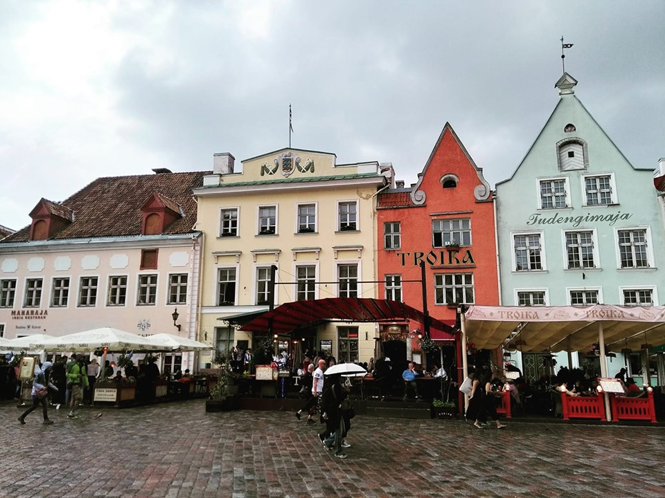 The central square in Tallinn's Old Town in the rain