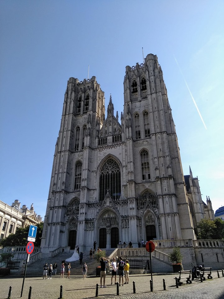 The gothic facade of Brussels Cathedral on a sunny day
