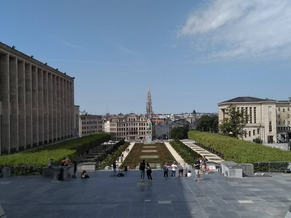 The city of Brussels viewed from the top of the Mont des Arts