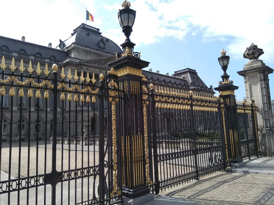 The iron gates with the Palais de Bruxelles behind