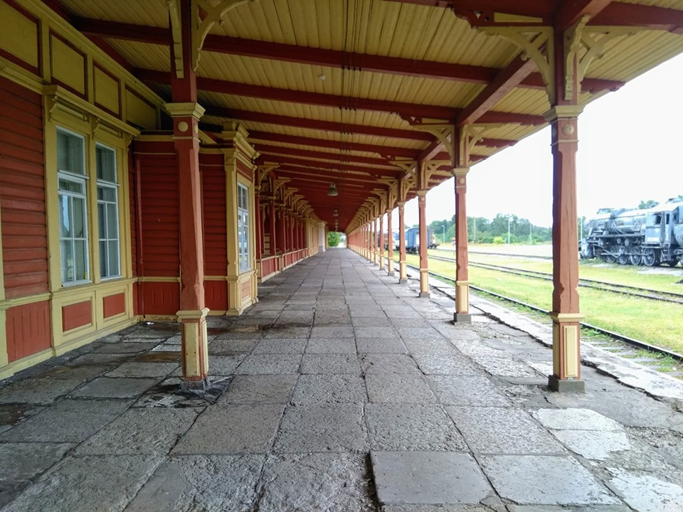 The old wooden railway platform at Haapsalu train station in Estonia