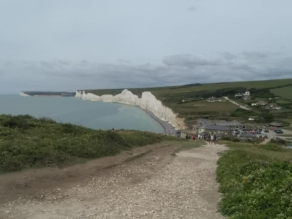Looking back towards Birley Gap and the white chalk cliffs of the Seven Sisters