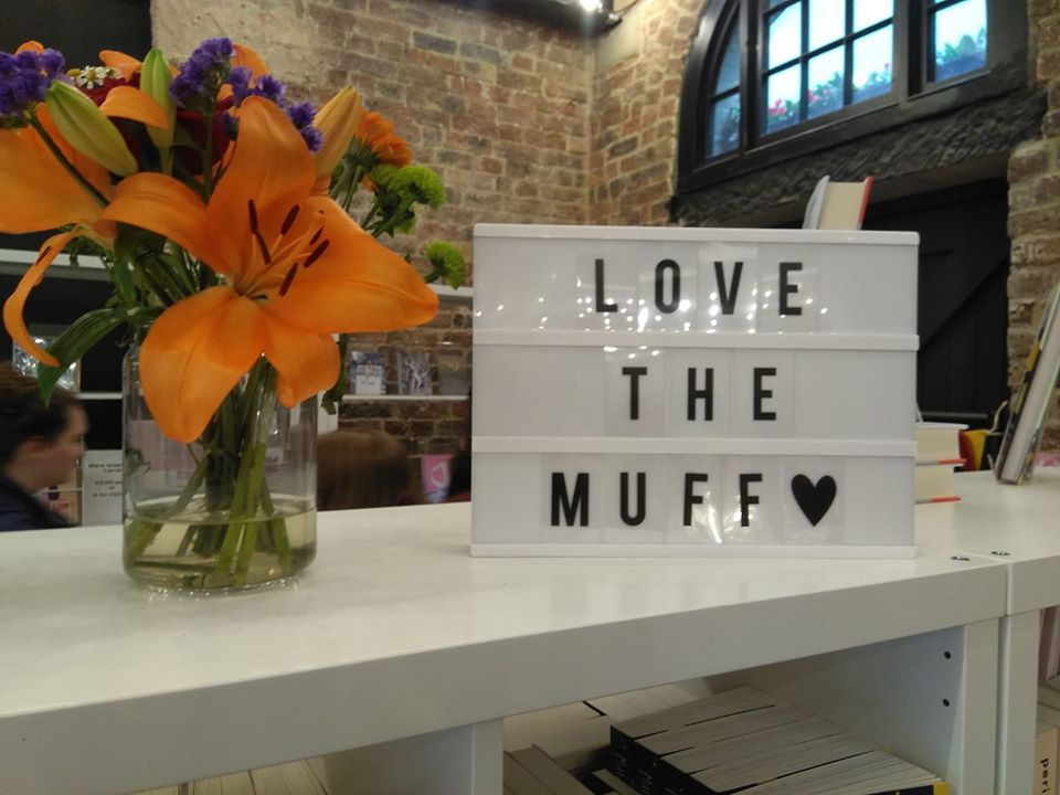 A sign at the Vagina Museum saying Love the Muff