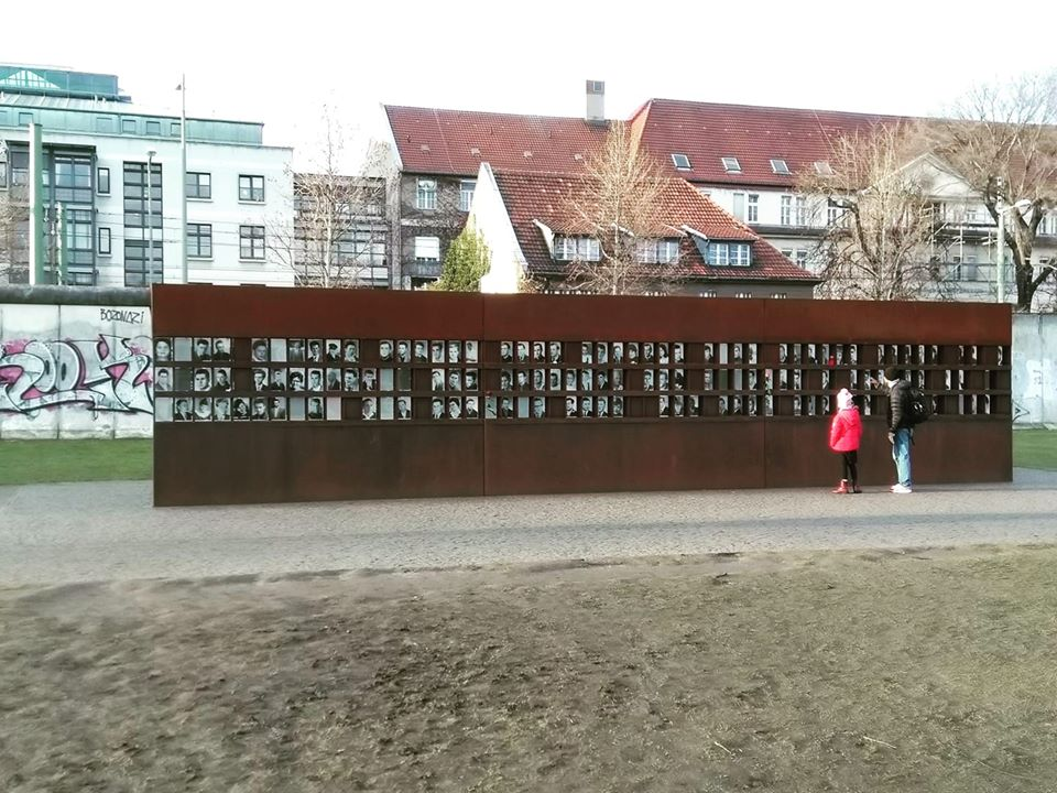 The memorial showing the faces of those whom we know died trying to cross the Berlin Wall