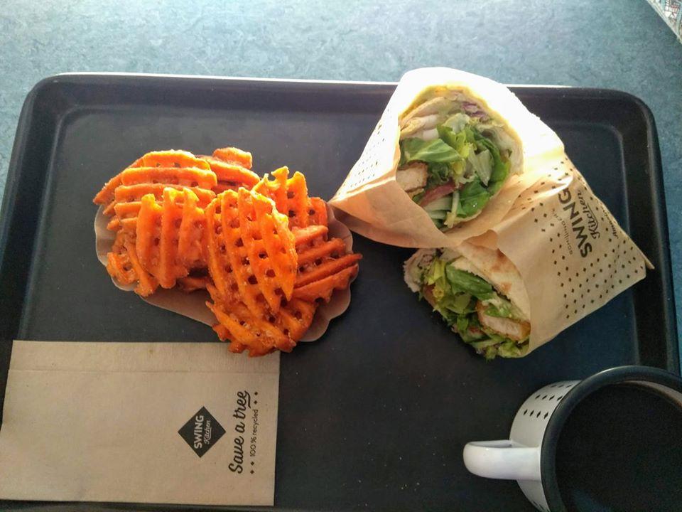 Vegan chicken wrap with sweet potato fries