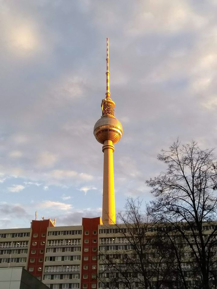 The TV Tower lit up in afternoon sunlight