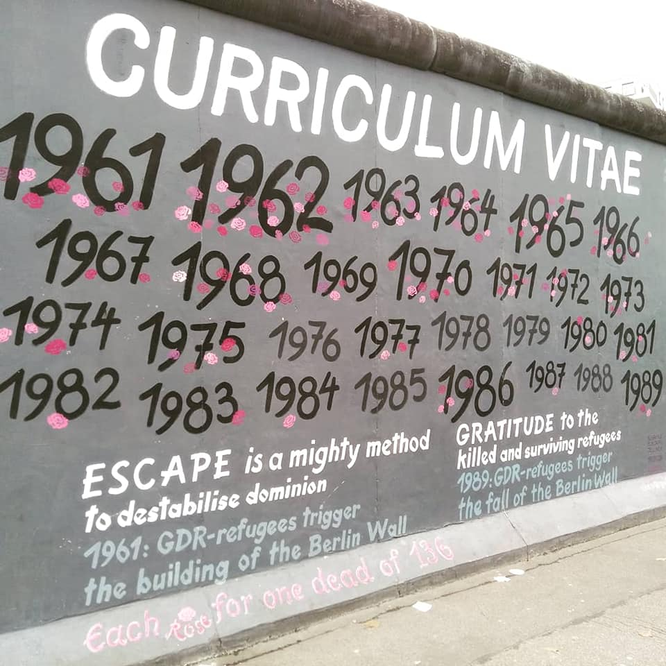 A mural on the Wall at the East Side Gallery remembering those who died trying to escape