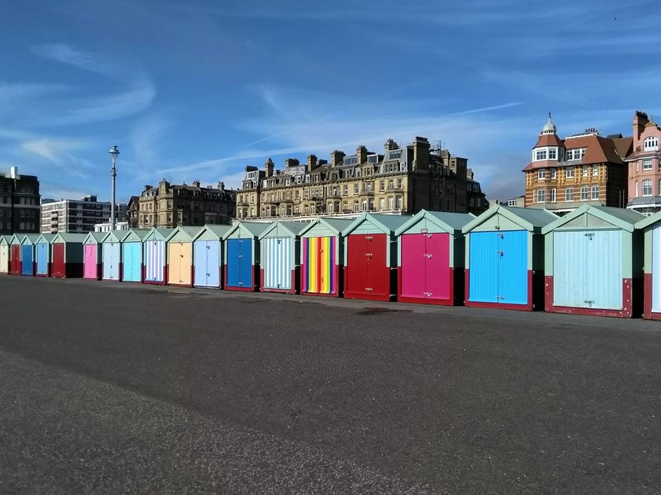 Some brightly-coloured beach huts
